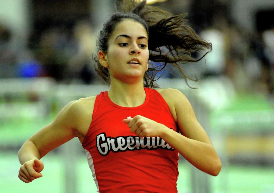 Greenwich's Emily Philippides competes in the 1000 meter race during FCIAC Indoor Track and Field Championship action in New Haven, Conn., on Thursday Feb. 1, 2018. Photo: Christian Abraham / Hearst Connecticut Media / http://connpost.com/