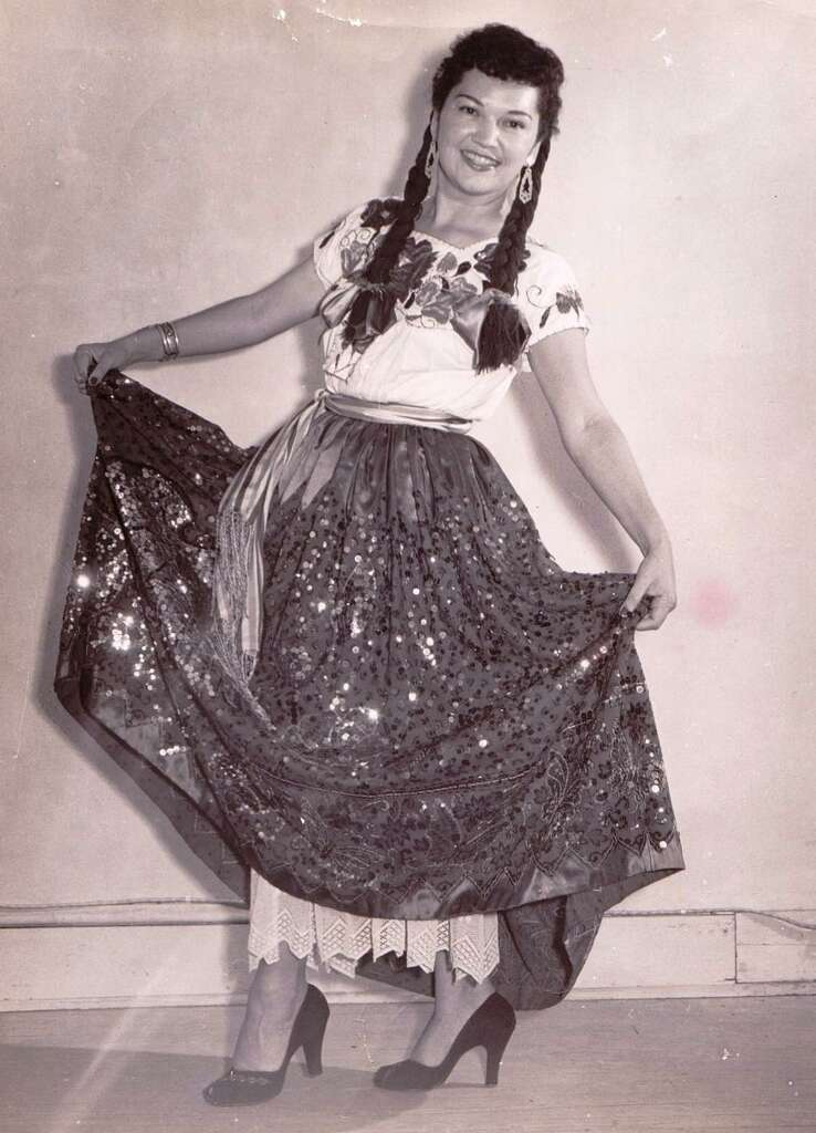 Nelda Drury posted for this photo in the 50s, which is when she founded the San Antonio Folk Dance Festival. The event marks its 60th anniversary in March, about a month before Drury turns 100-years-old. Photo: Courtesy Photo