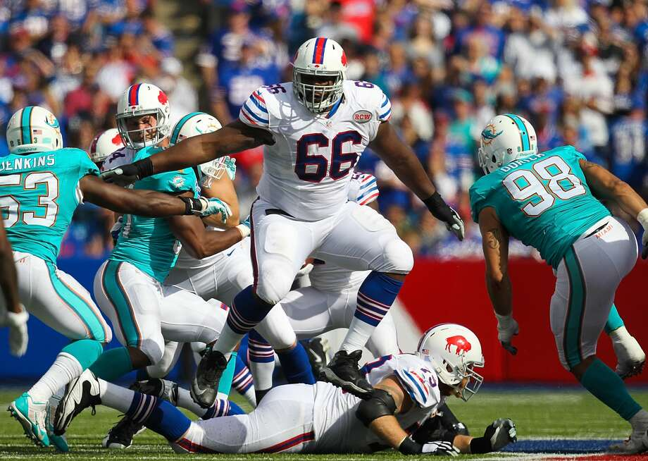 ORCHARD PARK, NY - SEPTEMBER 14: Seantrel Henderson #66 of the Buffalo Bills runs into position to block  against the Miami Dolphins during the second half at Ralph Wilson Stadium on September 14, 2014 in Orchard Park, New York. (Photo by Jerome Davis/Getty Images) Photo: Jerome Davis/Getty Images