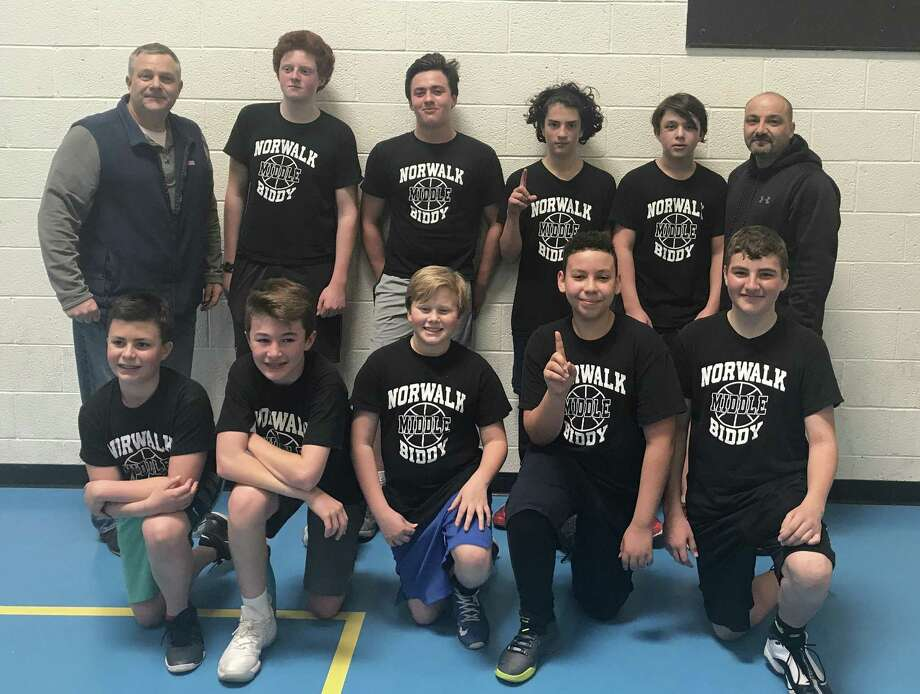 The Nets won the Norwalk Rec and Park's Middle School City Championship recently. Team members include: Front row, from left, Max Anderson, Zach Rich, Jacob Neaderland, Adrien Rivera and Zack DiMeglio, and back row, from left, Coach Andrew Bella, Miles Vitucci, Max Savona, Ryan Buzzee, Jale Bella and John DiMeglio. Photo: Contributed Photo