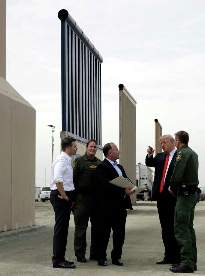 President Donald Trump revieww border wall prototypes, Tuesday, March 13, 2018, in San Diego,. Photo: Evan Vucci, AP / Copyright 2018 The Associated Press. All rights reserved.