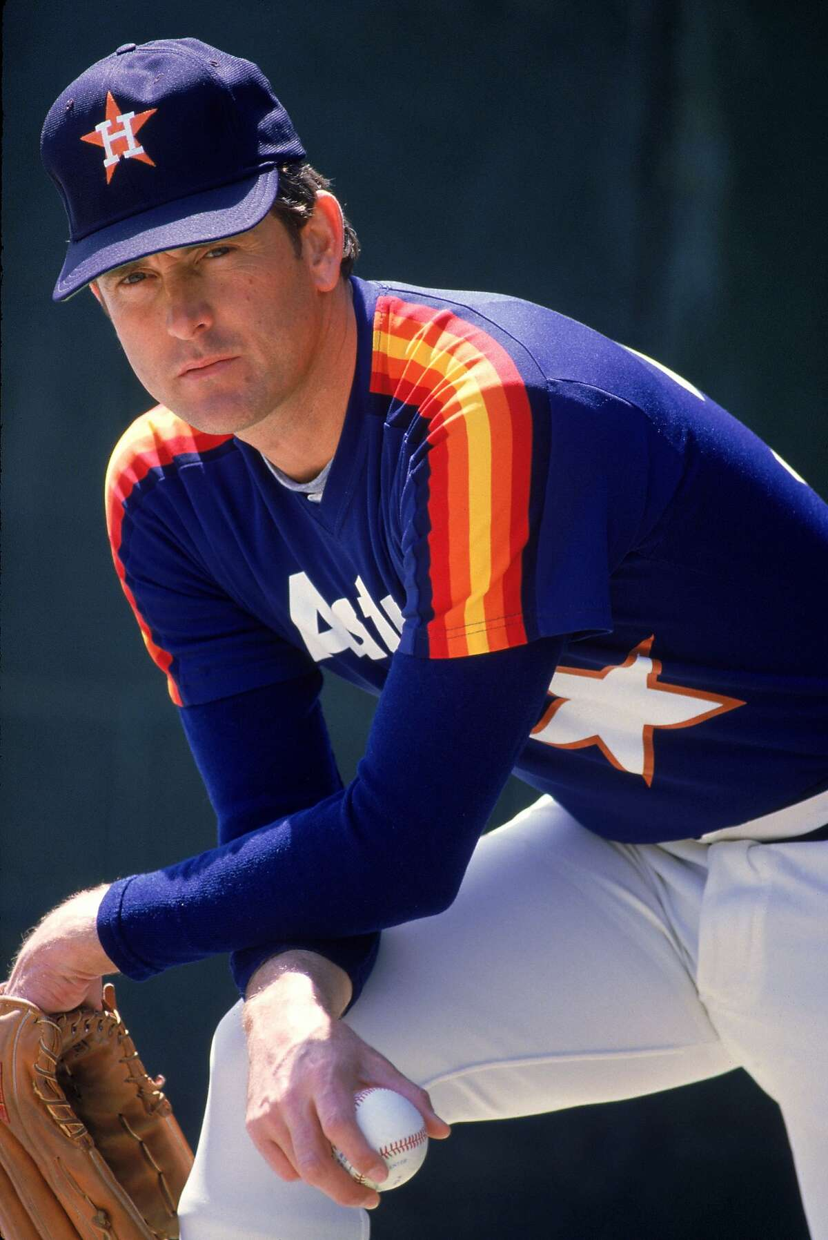 Legendary pitcher Nolan Ryan of the Houston Astros poses for a photo in the 1980s. Ryan is probably still mad about the walk-off home run he gave up to Bruce Bochy.