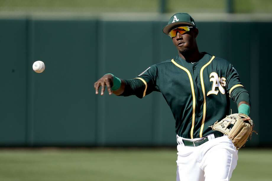 Oakland Athletics shortstop Jorge Mateo plays during a spring baseball game against the Texas Rangers in Mesa, Ariz., Tuesday, March 6, 2018. (AP Photo/Chris Carlson) Photo: Chris Carlson, Associated Press