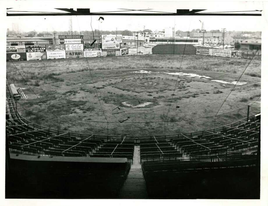 03/1963 - Busch Stadium, formerly known as Buffalo Stadium, is no longer in use. The stadium was the scene for many Houston Buffs baseball games. Only outline of once plush diamond remains.  Photo: DAN HARDY, Houston Chronicle / Houston Chronicle
