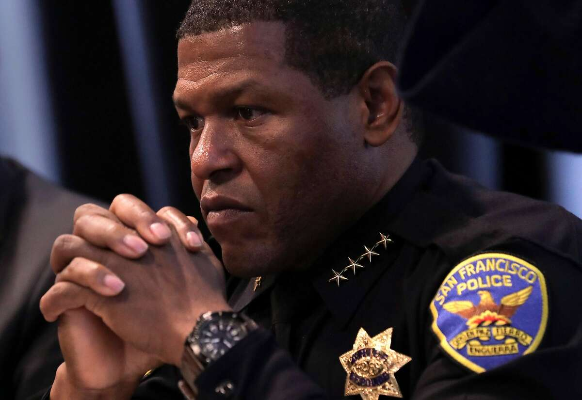 """San Francisco's Chief of Police William """"Bill"""" Scott as he holds a town hall, on Wednesday May 10, 2017, to discuss last week's fatal police shooting of a 26-year-old stabbing suspect along Market St. in downtown San Francisco, Ca."""