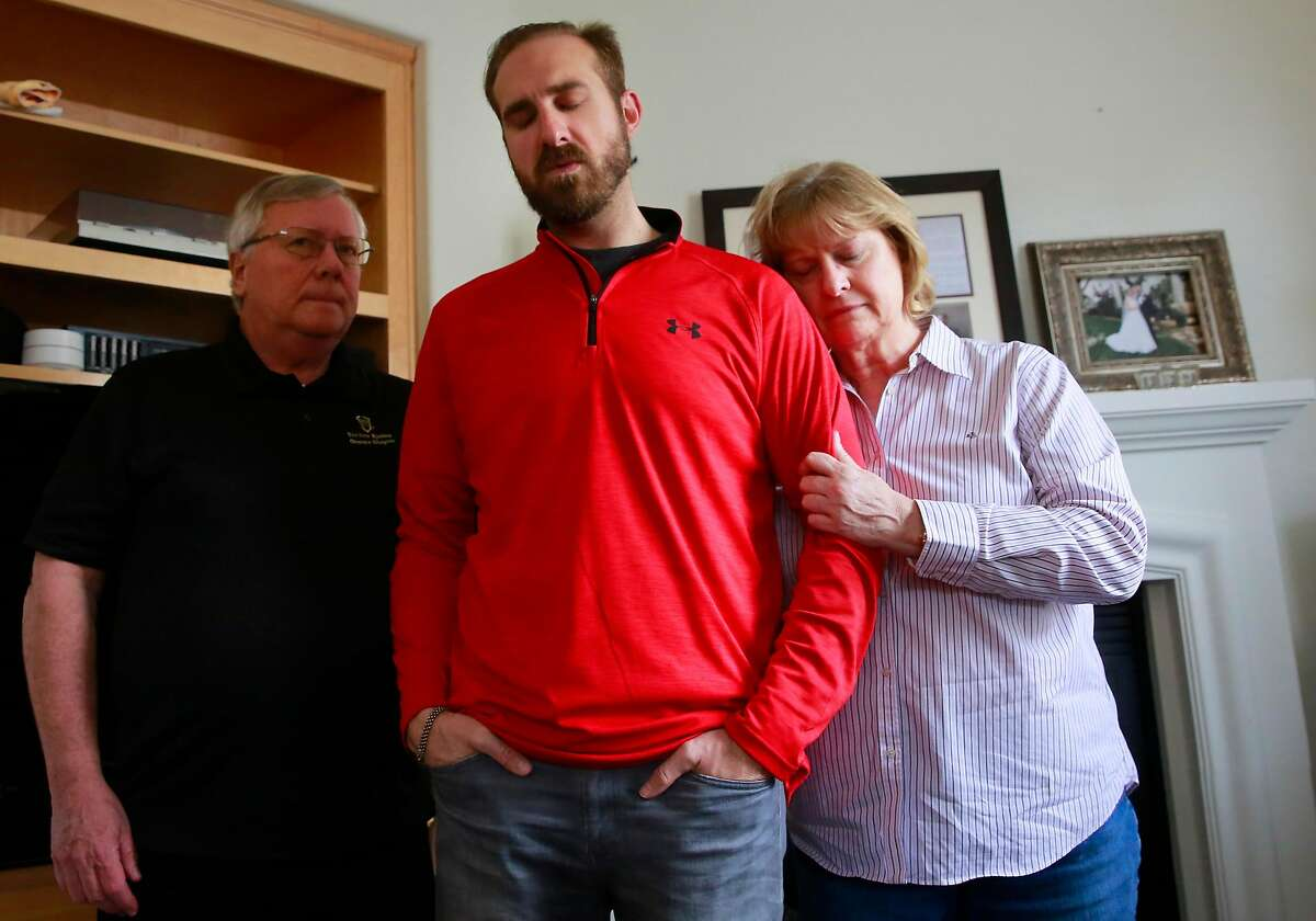 T. J. Shushereba, with his parents Ted and Debbie, talks about his wife Jennifer Gonzales at their home in Napa.