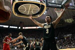 WEST LAFAYETTE, IN - FEBRUARY 07: Purdue Boilermakers guard Carsen Edwards (3) gets into a defensive position on an inbounds play during the Big Ten Conference college basketball game between the Ohio State Buckeyes and the Purdue Boilermakers on February 7, 2018, at Mackey Arena in West Lafayette, Indiana. (Photo by Michael Allio/Icon Sportswire via Getty Images)