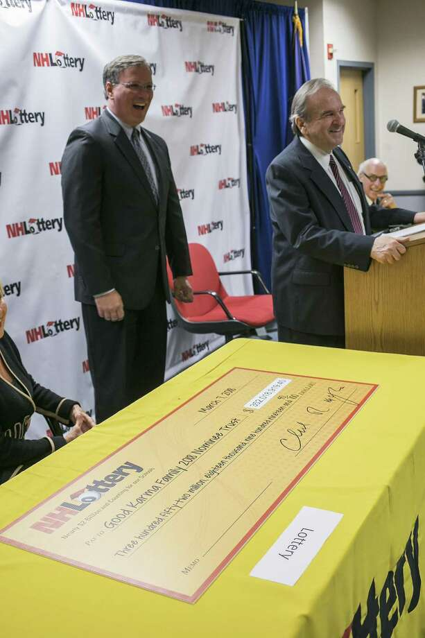 New Hampshire Lottery executive director Charles McIntyre, left, and Bill Shaheen of Shaheen and Gordon law firm answer questions concerning the woman who wants to remain anonymous after winning the Powerball jackpot at Lottery headquarters in Concord, New Hampshire on Wednesday, March 7, 2018. The lottery paid out the money while the privacy issue is still in court being decided and the woman gave out monies to several charities.  (Geoff Forester/The Concord Monitor via AP) Photo: Geoff Forester, MBR / Associated Press / The Concord Monitor