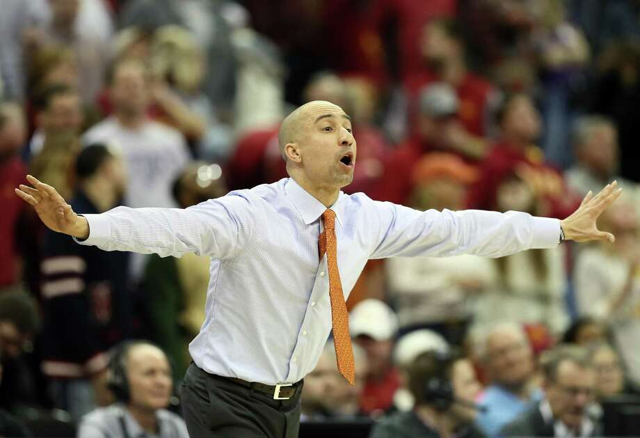 Head coach Shaka Smart of the Texas Longhorns reacts from the bench during the first round of the Big 12 Basketball Tournament against the Iowa State Cyclones at the Sprint Center on March 7, 2018 in Kansas City, Missouri. Photo: Jamie Squire /Getty Images / 2018 Getty Images