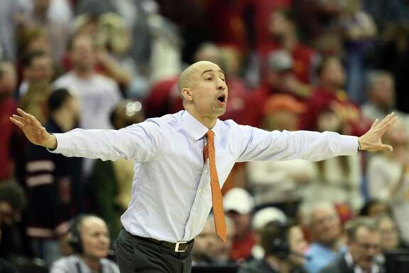 Head coach Shaka Smart of the Texas Longhorns reacts from the bench during the first round of the Big 12 Basketball Tournament against the Iowa State Cyclones at the Sprint Center on March 7, 2018 in Kansas City, Missouri.
