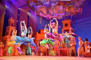 "A scene from the touring Broadway production of ""Disney's Aladdin."""