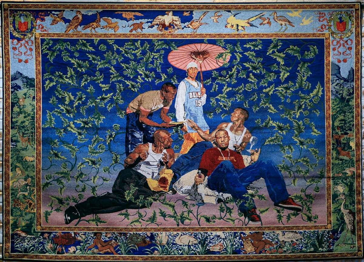 Oakland Museum of California presents �Respect: Hip-Hop Style & Wisdom: Kehinde Wiley, Gypsy Fortune Teller, 2007. Jacquard tapestry in Italian cotton and Italian viscose, 76 x 102 in. Image provided courtesy of Suzy Gorman.