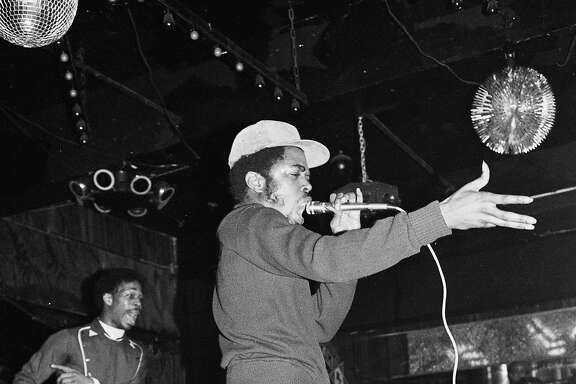 Oakland Museum of California presents �Respect: Hip-Hop Style & Wisdom�:�Joe Conzo, JDL (Jerry D. Lewis) of Cold Crush Brothers at Club Negril, 1981. Photo print. Courtesy of the Joe Conzo Archives.