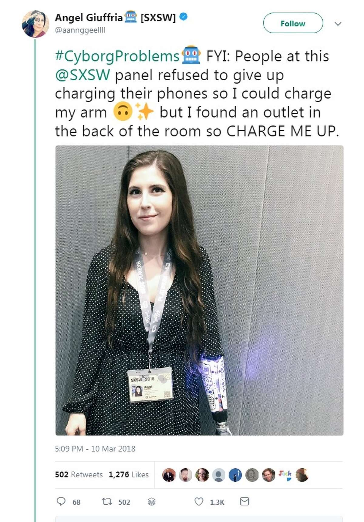 Angel Giuffria, a bionics advocate and actress, attended South by Southwest in Austin on Saturday to demonstrate her lifelike robotic hand in action.