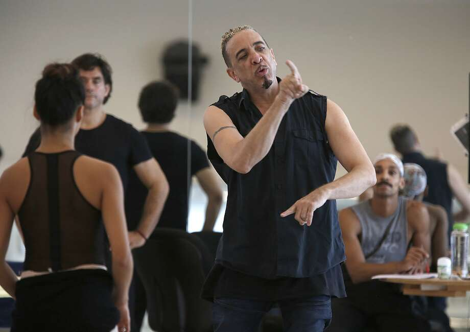 Choreographer Dwight Rhoden (middle) works with dancers during the rehearsal of his new dance for part of the San Francisco Ballet's New Works festival in 2018. Photo: Liz Hafalia / The Chronicle