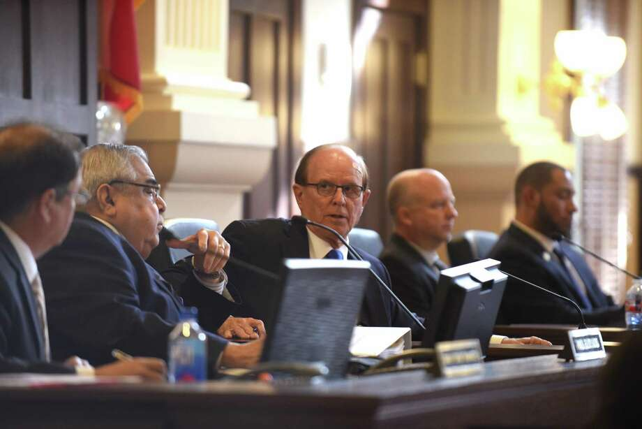 County commissioners listen as the subject of body-worn cameras for Sheriff's deputies is discussed during a meeting on Tuesday, March 13, 2018. Photo: Billy Calzada, Staff / San Antonio Express-News / San Antonio Express-News