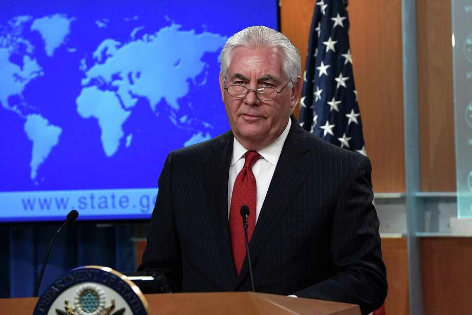 Outgoing U.S. Secretary of State Rex Tillerson makes a statement on his departure from the State Department Tuesday at the State Department. President Donald Trump has nominated CIA Director Mike Pompeo to replace Tillerson to be the next Secretary of State. Photo: Alex Wong, Staff / 2018 Getty Images