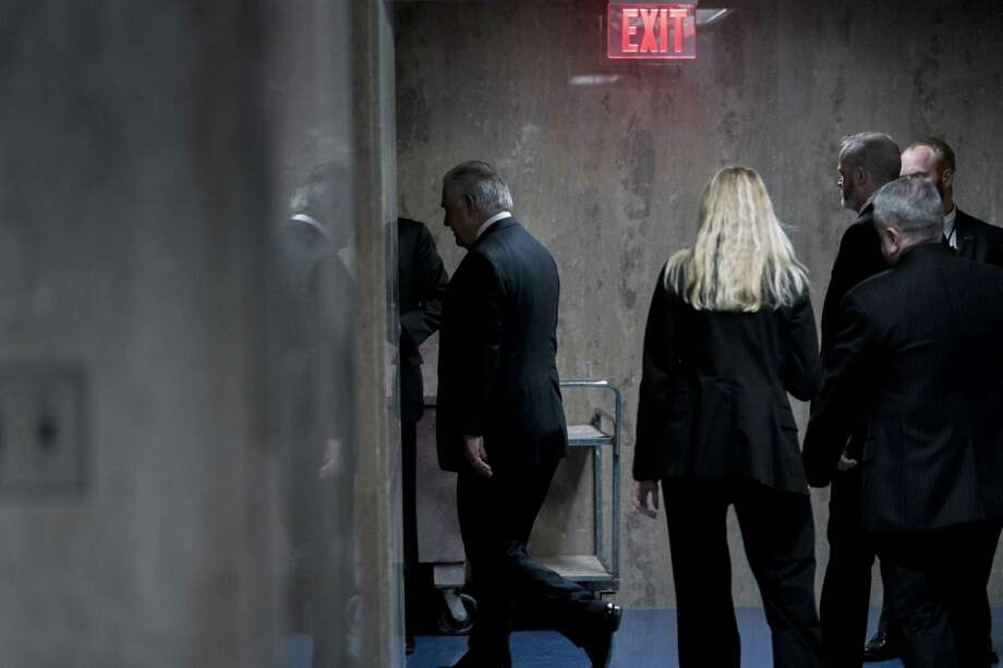 Secretary of State Rex Tillerson walks down a hallway after speaking at a news conference at the State Department in Washington, Tuesday, March 13, 2018. Trump fired Secretary of State Rex Tillerson on Tuesday and said he would nominate CIA Director Mike Pompeo to replace him, in a major staff reshuffle just as Trump dives into high-stakes talks with North Korea. (AP Photo/Andrew Harnik) Photo: Andrew Harnik, STF / Associated Press / Copyright 2018 The Associated Press. All rights reserved.