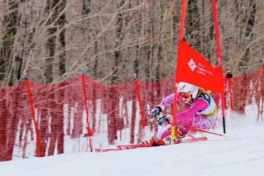 Madison Ostergren competes in an International Ski Federation race for Westminster College of Utah.