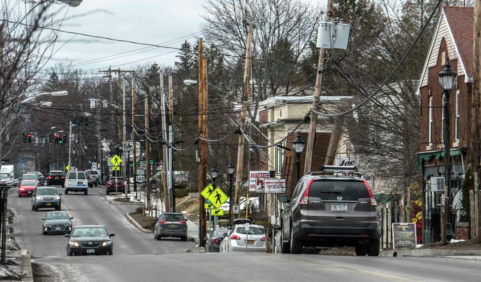 Looking south on Delaware Avenue toward the five corners Monday March 12, 2018 in Bethlehem, N.Y. (Skip Dickstein/Times Union)