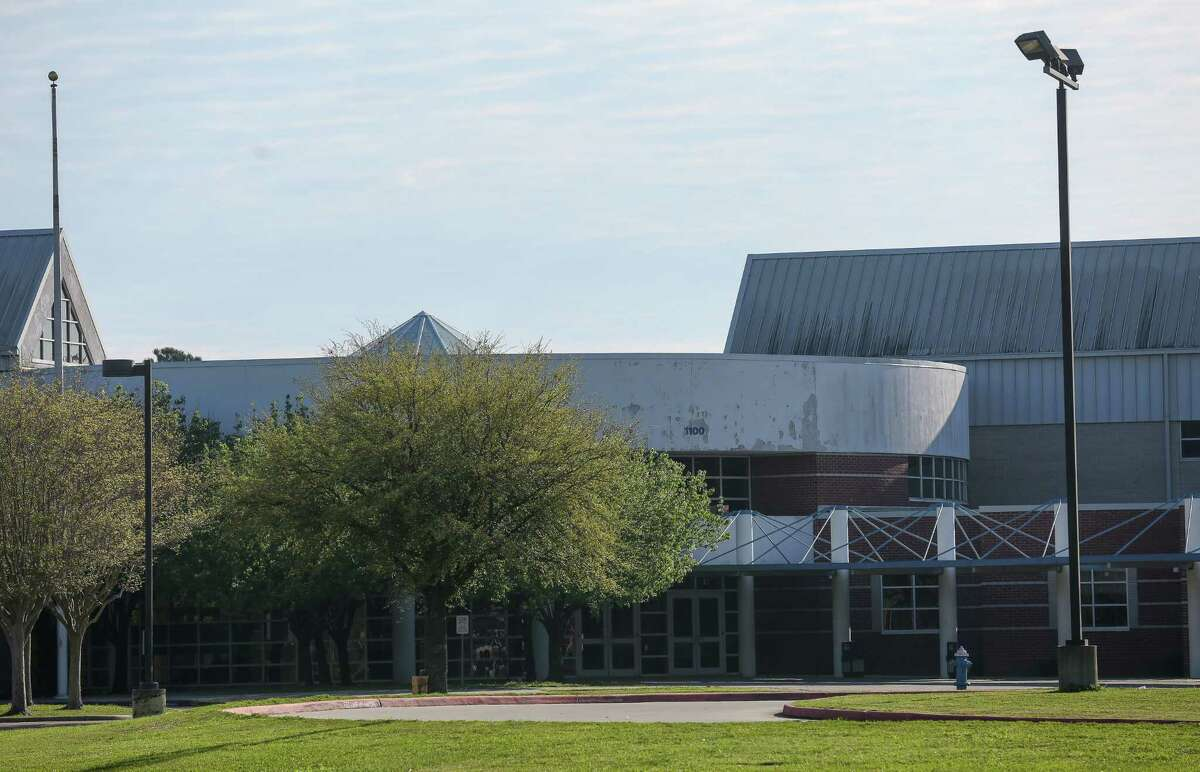 Channelview High School seem from Sheldon Road Tuesday, March 13, 2018, in Channelview, Texas. Students in the marching band were injured after their charter bus, traveling back from a trip to Disney World, drive off the Interstate 10 near Mobile, Alabama.