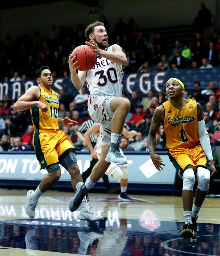 Saint Mary's Jordan Ford  drives against Southeastern Louisiana's during Marlain Veal in 2nd quarter during NIT first round game in Moraga, Calif., on Tuesday, March 13, 2018.