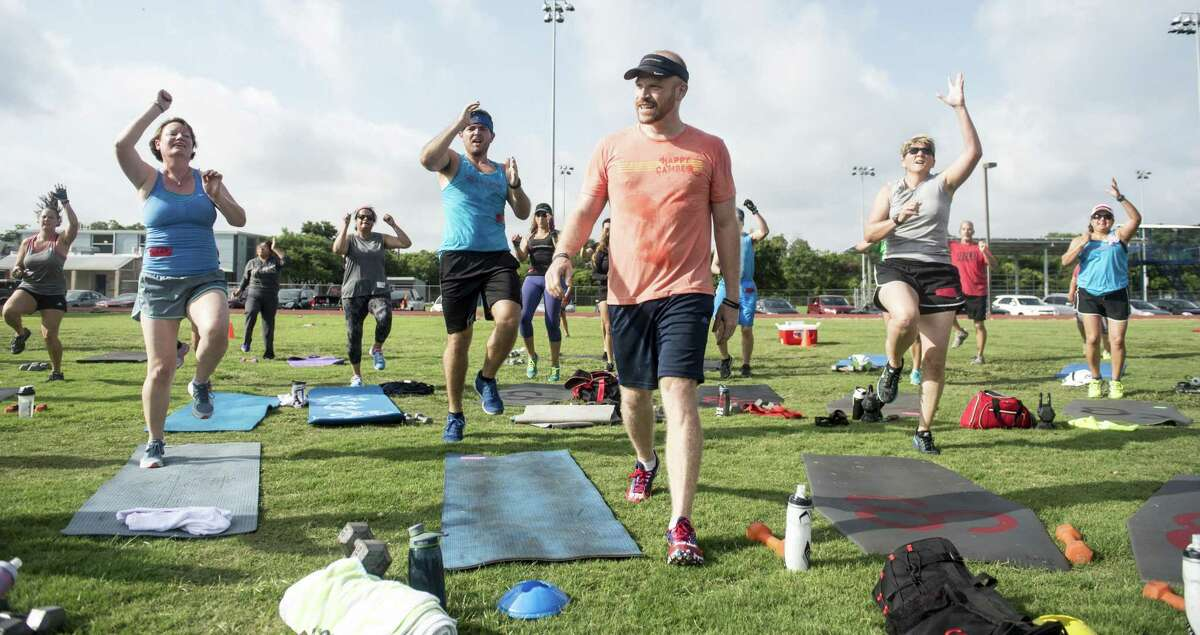 Camp Gladiator, an outdoor group fitness class, is one of the options in San Antonio for exercise in public parks and parking lots.