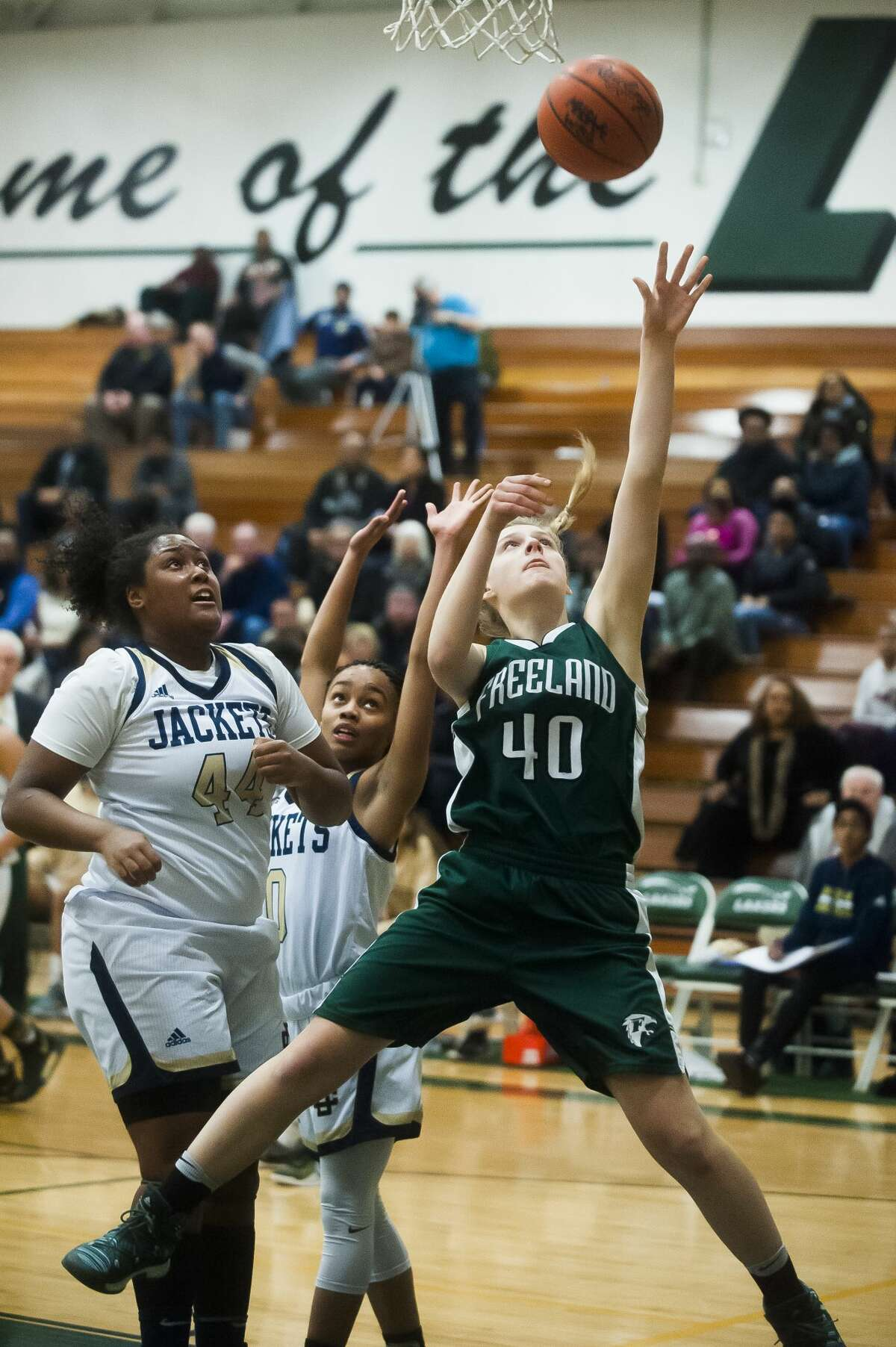 Freeland sophomore Kadyn Blanchard takes a shot while Detroit Country Day senior Maxine Moore guards during their Class B state quarterfinals game on Tuesday, March 13, 2018 at West Bloomfield High School. (Katy Kildee/kkildee@mdn.net)