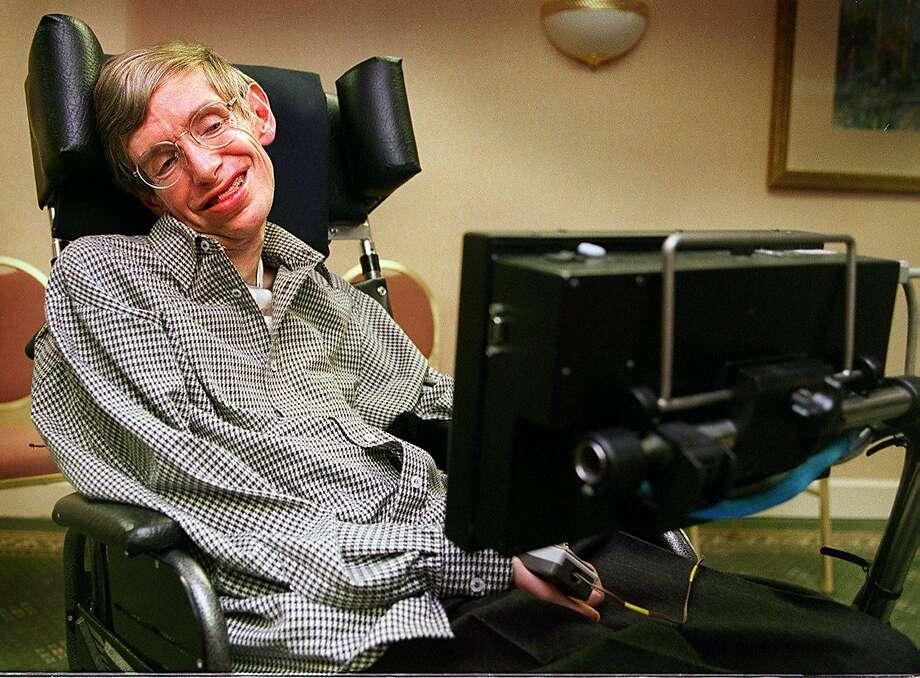Stephen Hawking, shown at an appearance in Santa Clara in 1996, contracted ALS when he was 21. Photo: LIZ HAFALIA, STAFF