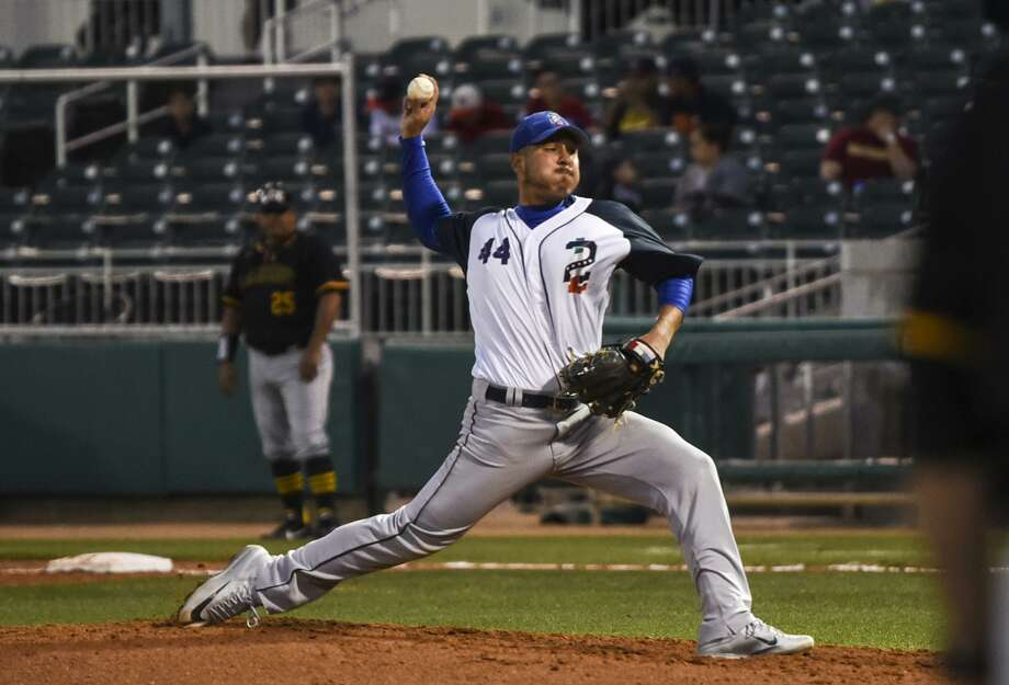 Former United pitcher Julio Rodriguez is one of six players for the Tecolotes Dos Laredos that had a tie to Laredo during Spring Training. He threw four scoreless innings without a hit in an exhibition against LCC. Photo: Danny Zaragoza /Laredo Morning Times