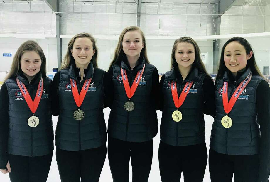 Darien medalists on the Skyliners team pictured from left to right: Abigail Hurst, Clara Baurmeister, Mae Archie, Maggie Brooks and Mia Sparks. Photo: Contributed Photo / Darien News contributed