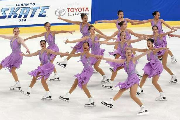 The Skyliners perform at the Synchronized Skating Championships in Portland, Or.
