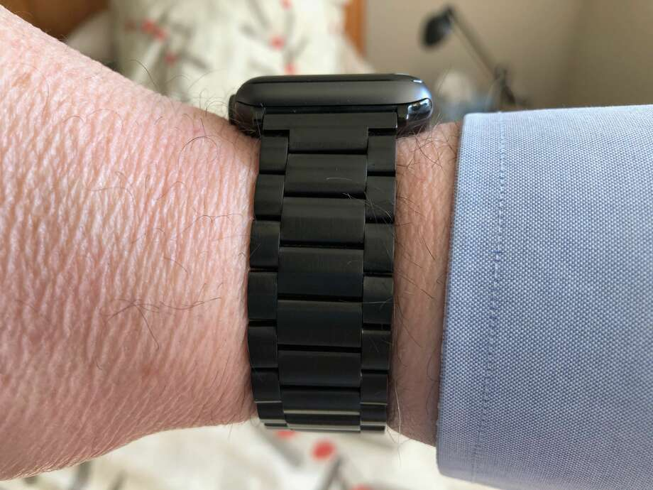 A third-party, stainless-steel link watchband for Apple Watch. Photo: Dwight Silverman / Houston Chronicle