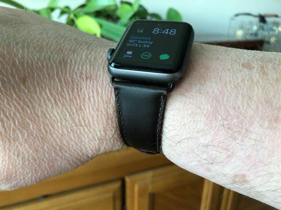 Retro leather Apple Watch band. Photo: Dwight Silverman / Houston Chronicle