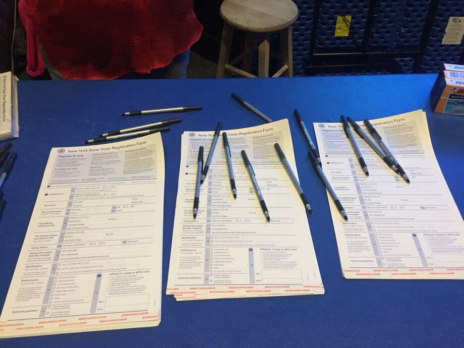 Voter registration was available at Albany High School during the National Student Walkout on March 14, 2018. Photo: Bethany Bump / Times Union