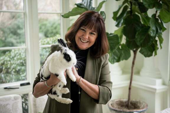 """Second lady Karen Pence with family pet Marlon Bundo at home in the Naval Observatory in Washington, D.C. Marlon narrates the new children's book """"Marlon Bundo's Day in the Life of the Vice President."""""""