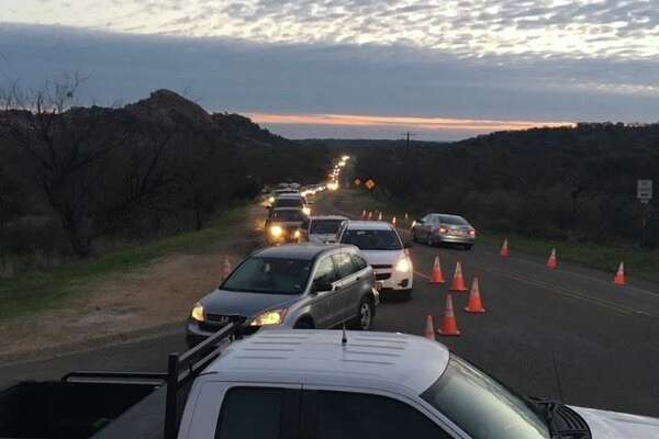 """Enchanted Rock State Natural Area : """"Good morning! We took this photo of our line for park entry this morning at 7:30am. If you are not in line already, you are unlikely to be able to enter today."""""""