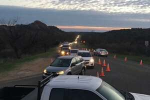 "Enchanted Rock State Natural Area : ""Good morning! We took this photo of our line for park entry this morning at 7:30am. If you are not in line already, you are unlikely to be able to enter today."""