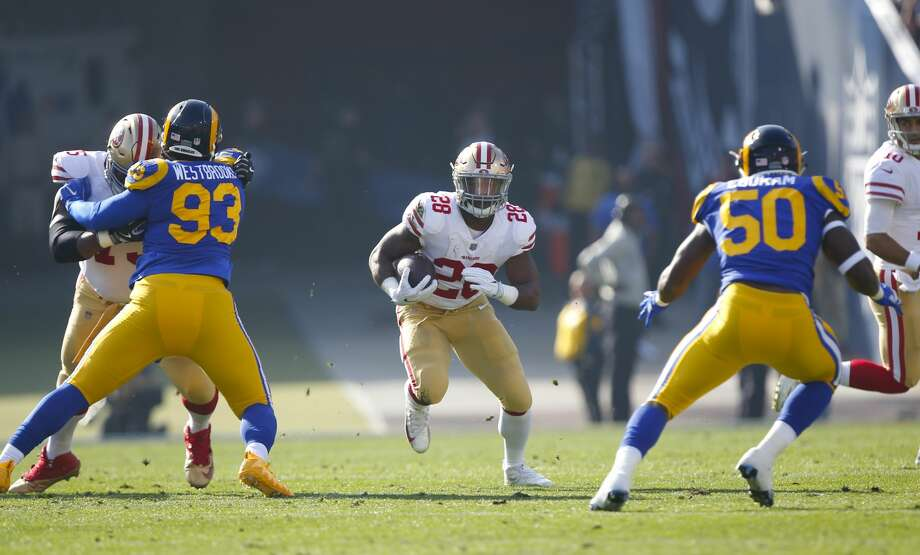 LOS ANGELES, CA - DECEMBER 31: Carlos Hyde #28 of the San Francisco 49ers rushes during the game against the Los Angeles Rams at Los Angeles Memorial Coliseum on December 31, 2017 in Los Angeles, California. The 49ers defeated the Rams 34-13. (Photo by Michael Zagaris/San Francisco 49ers/Getty Images) Photo: Michael Zagaris/Getty Images