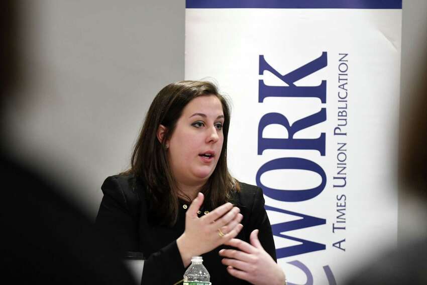 Colleen A. Costello, CEO and cofounder of Vital Vio, speaks during a Women@Work Changemakers breakfast event, presented by Bank of America on Wednesday, March 14, 2018, at the Hearst Media Center in Colonie, N.Y. (Will Waldron/Times Union)