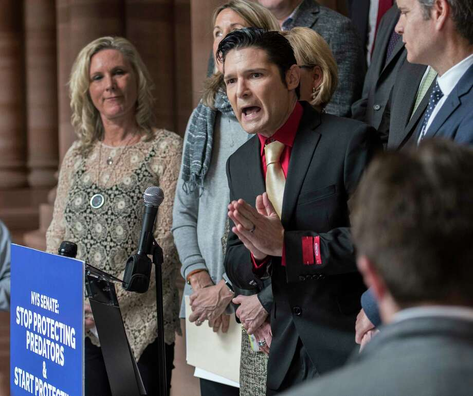 Actor Corey Feldman joins demonstrators representing the New Yorkers Against Hidden Predators to speak out about child abuse at the State Capitol Wednesday March 14, 2018 Albany, N.Y. (Skip Dickstein/Times Union) Photo: SKIP DICKSTEIN, Albany Times Union / 20043202A