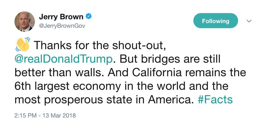 California Governor Jerry Brown sends a message to President Donald Trump over Twitter on March 13, 2018. Photo: Gov. Jerry Brown Via Twitter