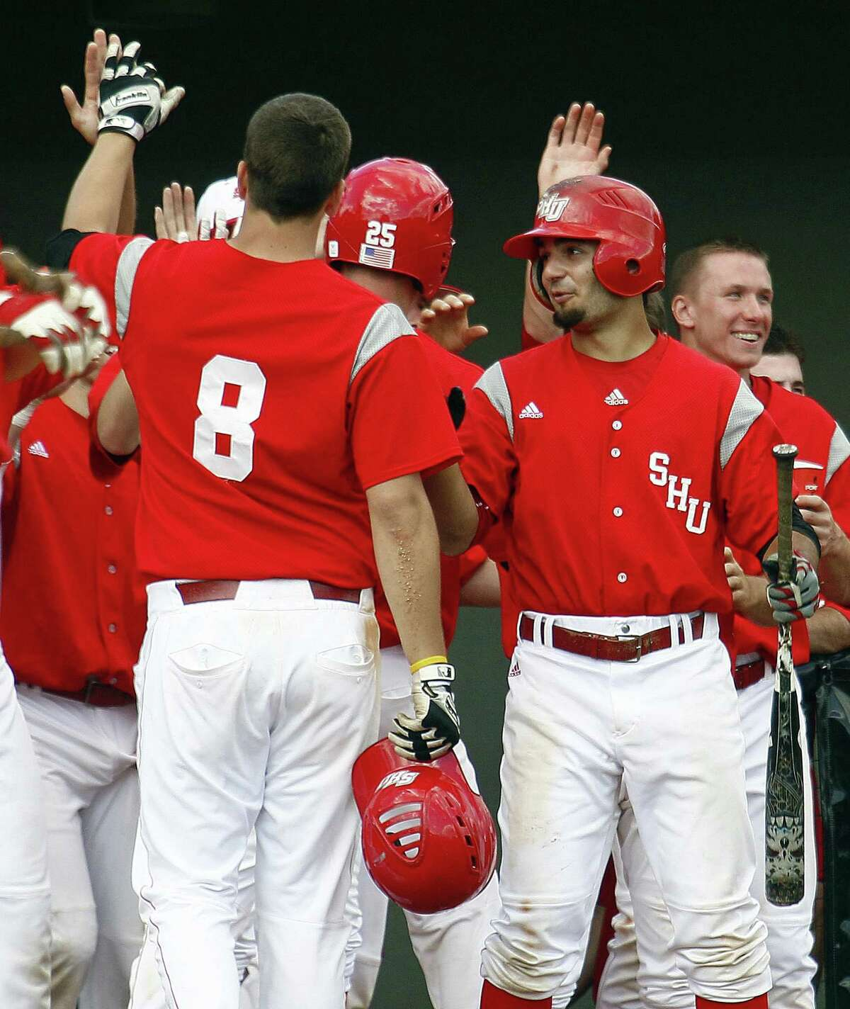 Sacred Heart University baseball players during an NCAA college baseball tournament regional game against UNC Wilmington in Raleigh, N.C., June 2, 2012.
