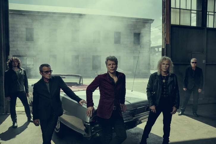 Bon Jovi — Jon Bon Jovi (center) flanked by Tico Torres and David Bryan, with Phil X (left) and Hugh McDonald — will play the AT&T Center in San Antonio March 23.