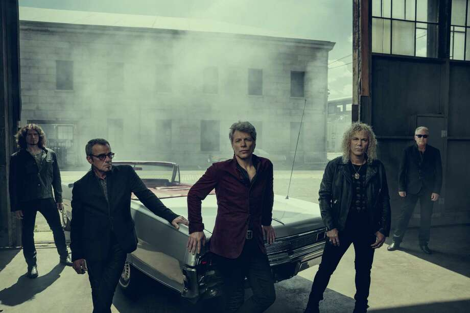 Bon Jovi — Jon Bon Jovi (center) flanked by Tico Torres and David Bryan, with Phil X (left) and Hugh McDonald — will play the AT&T Center in San Antonio March 23. Photo: Norman Jean Roy