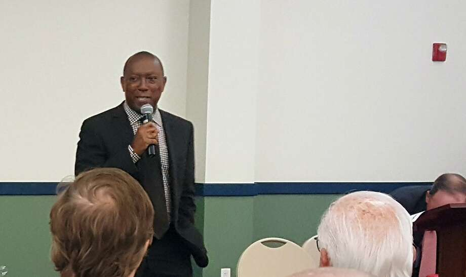 Houston Mayor Sylvester Turner discusses flood relief and mitigation efforts during a Harvey recovery session in Kingwood in September, 2017. Turner said on March 13, 2018 that work on some planned city projects may be delayed as funds are shifted to post-Harvey building repairs. Photo: Melanie Feuk / Melanie Feuk / Melanie Feuk