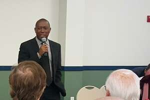 Houston Mayor Sylvester Turner discusses flood relief and mitigation efforts during a Harvey recovery session in Kingwood in September, 2017. Turner said on March 13, 2018 that work on some planned city projects may be delayed as funds are shifted to post-Harvey building repairs.