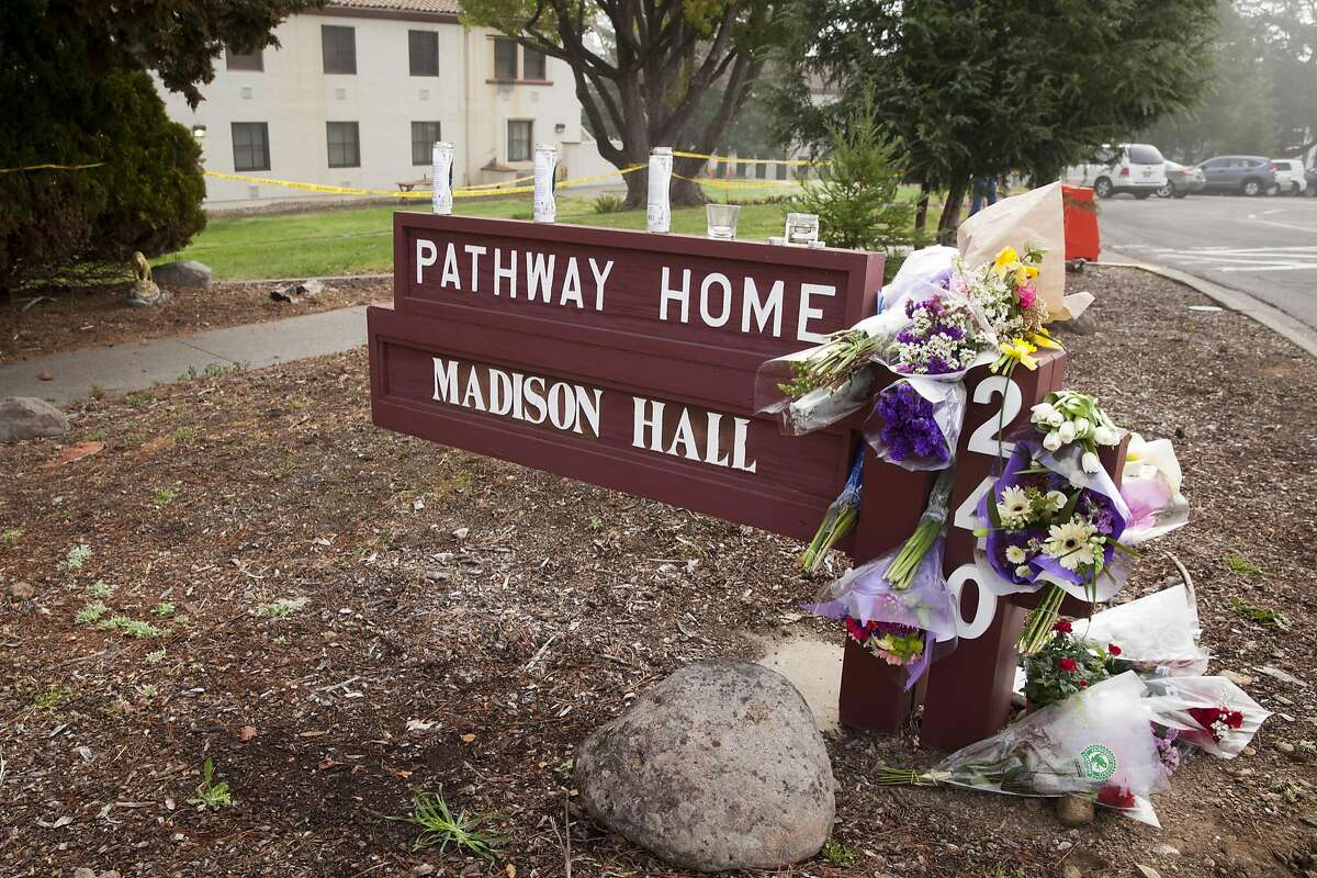 A make shift memorial at the Pathway Home where three employees of Pathway were killed by a former patient on Friday March 09 in Yountville, California, USA 11 Mar 2018.