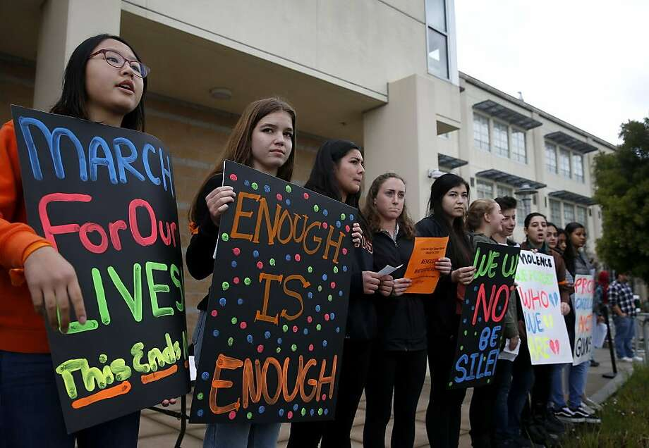 Student organizers lead a rally at El Cerrito High School during a campus-wide walk out in El Cerrito, Calif. on Wednesday, March 14, 2018. The walkout was part of a nationwide response by students to protest against gun violence one month after the deadly school shooting in Parkland, Fla. Photo: Paul Chinn, The Chronicle