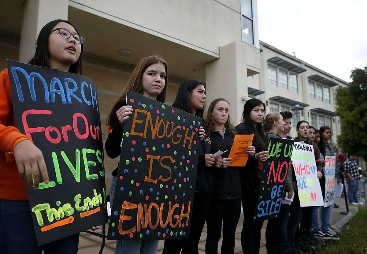 Student organizers lead a rally at El Cerrito High School during a campus-wide walk out in El Cerrito, Calif. on Wednesday, March 14, 2018. The walkout was part of a nationwide response by students to protest against gun violence one month after the deadly school shooting in Parkland, Fla.